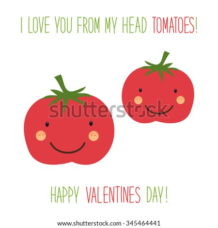 Cute unusual hand drawn valentines day stock illustration 345464441 cute unusual hand drawn valentines day card with funny cartoon characters of tomatoes and hand written voltagebd Image collections