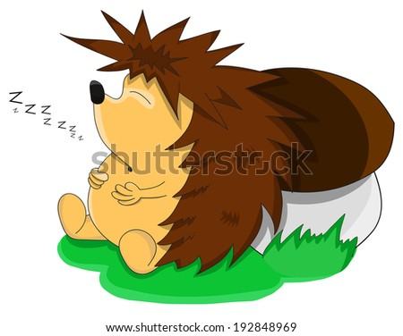 Cute unusual sleeping cartoon hedgehog  - stock photo