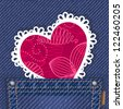 Cute valentine card in jeans pocket. Raster version. Vector is also available in my gallery - stock photo