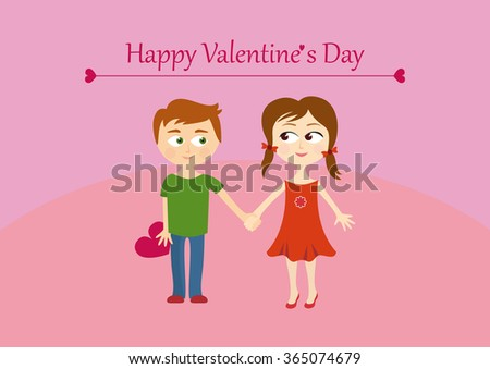 Cute valentines couple, girl and boy. Happy Valentine's Day Greeting Card. Illustration with a couple. Background with children. Cartoon character children. Cartoon boy and girl. Amorous background