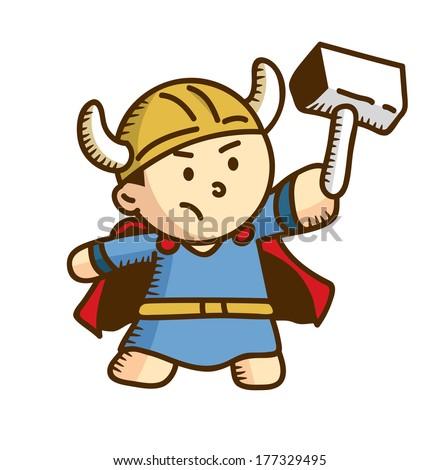cute viking cartoon - stock photo