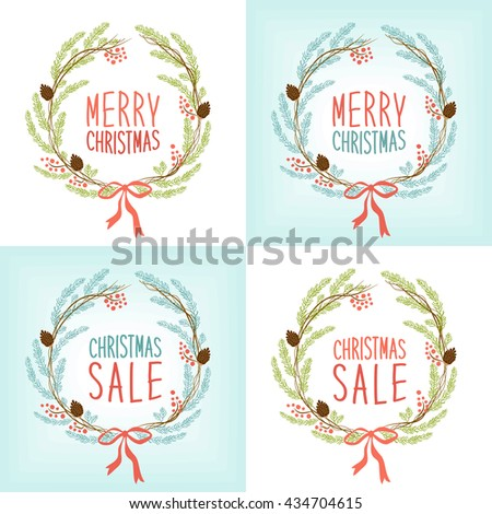 Cute vintage hand drawn Christmas wreath as fir tree branches with rowan berries and cones for your decoration - stock photo