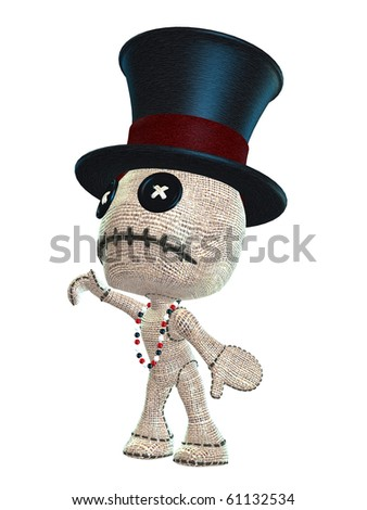 cute voodoo doll with top hat and beads - stock photo