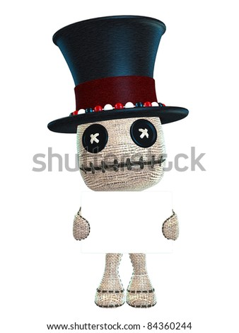 cute voodoo doll with top hat and beads and sign - stock photo