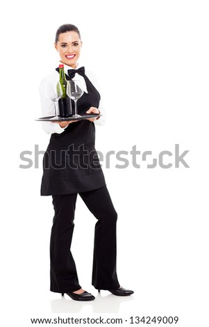 cute waitress holding a tray of wine and glass isolated on white - stock photo