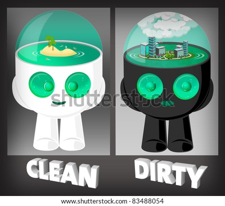 Cute Water head robots illustration with environment clean and dirty in his heads - stock photo