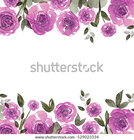Cute Watercolor Flower Frame Background With Purple Roses Invitation Wedding Card Birthday