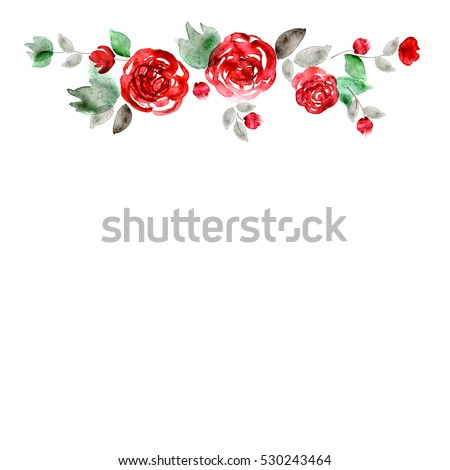 Cute Watercolor Flower Frame Background Red Stock