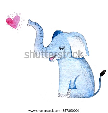 Cute watercolor illustration with baby elephant and heart.  - stock photo