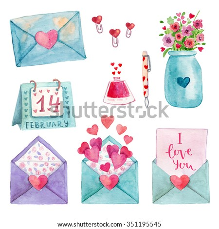 Cute watercolor  romantic illustration set of design elements for Valentine's Day, Wedding day, scrapbook - stock photo