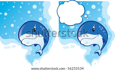 Cute Whale swimming and thinking out loud. - stock photo