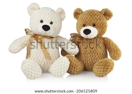 cute white and brown teddy bears - stock photo