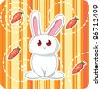 Cute white rabbit with carrots - stock vector
