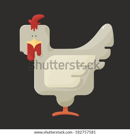 Cute white square shaped chicken with red crest, standing sideways on a dark background, stylized bird farm icon - stock photo