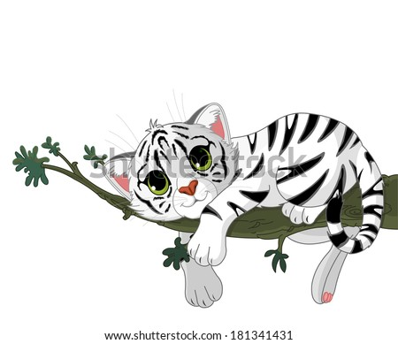 Cute white Tiger rest on a branch. Raster version.   - stock photo