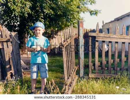 Cute White Young Boy Holding His Little Chick While at the Grassy Garden and Ready to Play. - stock photo