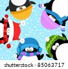 Cute Winter Penguins - stock photo