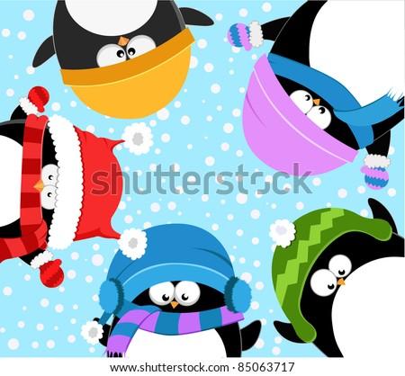 Cute Winter Penguins - stock photo
