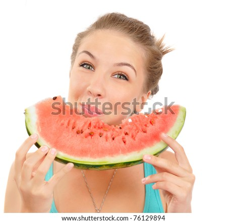 cute woman eat juicy watermelon. over white - stock photo