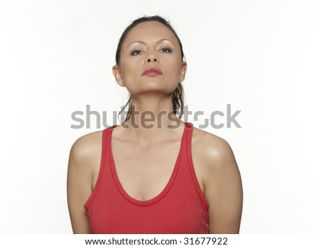 cute woman expressive on isloated white background - stock photo