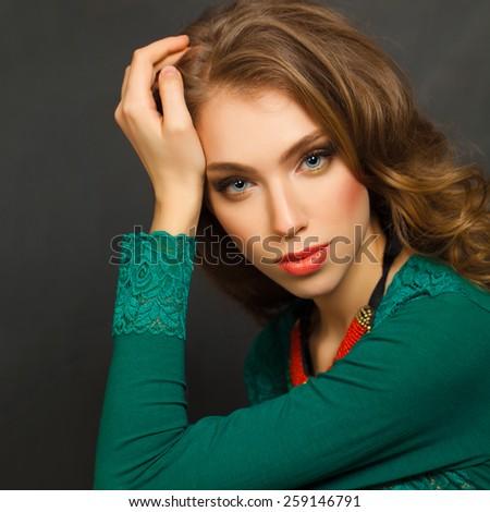 Cute Woman, fashion portrait - stock photo