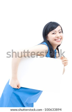 Cute woman holding blank white board.