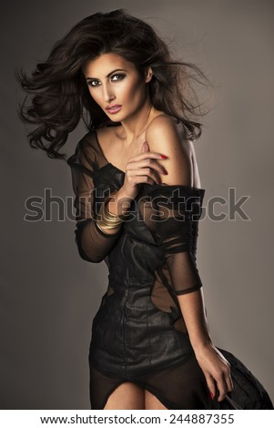 Cute woman in gorgeous dress  - stock photo