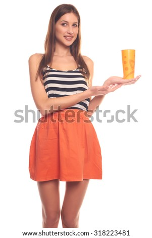Cute woman isolated on white background holding a paper cup