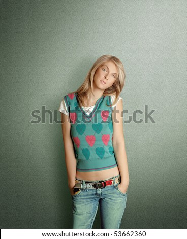 cute woman isolated on white with perfect make-up - stock photo