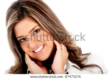 Cute woman portrait smiling - isolated over a white background