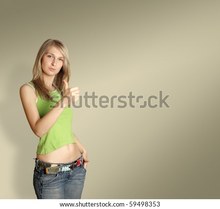 cute woman says well done isolated on different backgrounds - stock photo