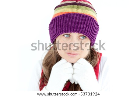 Cute woman thinking against a white background