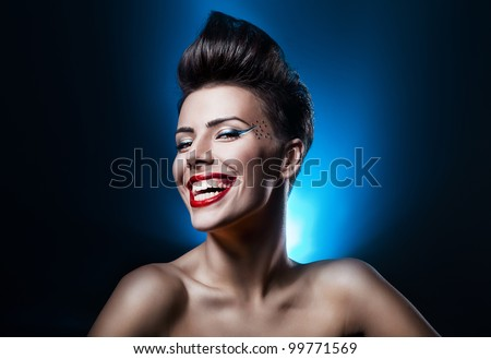 cute woman with crazy smile - stock photo