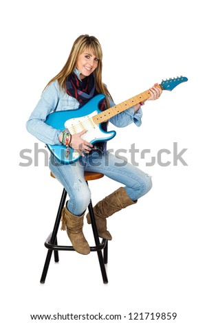 Cute Woman with Electric Guitar Isolated on White