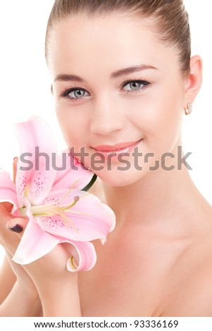 Cute woman with flower
