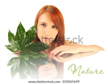 cute woman with green leaf