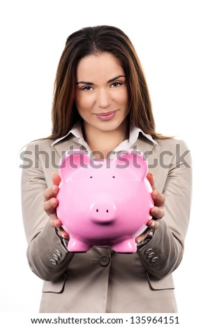Cute woman with piggy bank on white background - stock photo