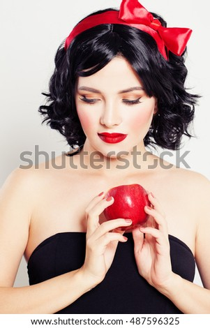 Cute Woman with Red Apple Fruit. Temptation