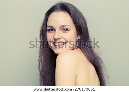 Cute woman young with freckle portrait  - stock photo