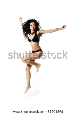Cute women in swimsuit jumping. White background - stock photo