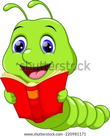 Cute Worm Reading a Book - stock photo