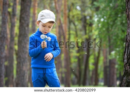 Cute 4 years old boy with dandelion outdoors at sunny summer day - stock photo