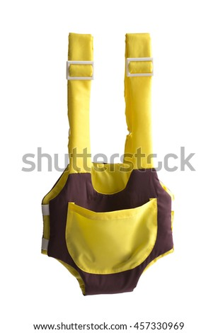 cute yellow and brown baby carrier isolated on white background - stock photo