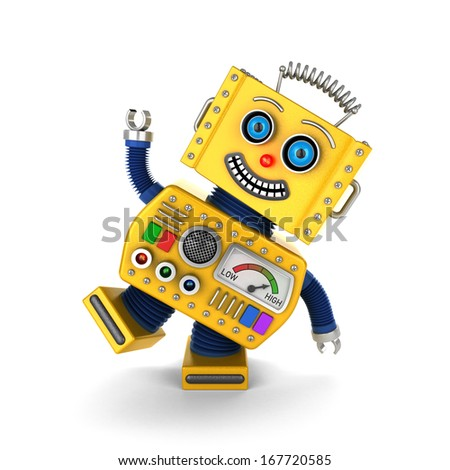 Cute yellow vintage toy robot over white background having fun - stock photo