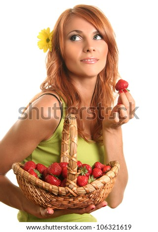 cute youg woman with strawberry