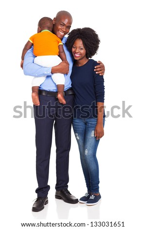 cute young african couple with their child isolated on white - stock photo
