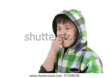 Cute young asian boy with surprised or thoughtful look isolated on white background