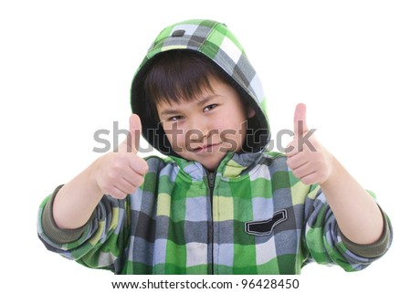 Cute young boy giving the two thumbs up sign isolated on white background - stock photo