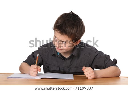 cute young boy learning with white background