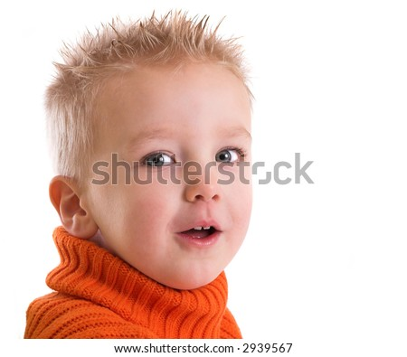 Cute young boy on white background